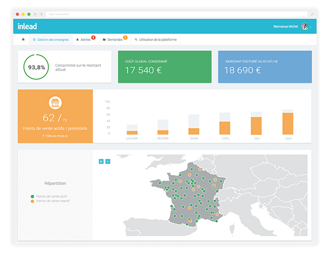 Inlead : Plateforme de gestion de campagnes e-publicitaires géolocalisées